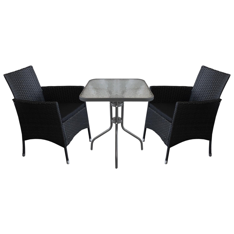 balkonm bel gartenm bel set sitzgruppe glastisch 60x60cm 2x rattansessel ebay. Black Bedroom Furniture Sets. Home Design Ideas