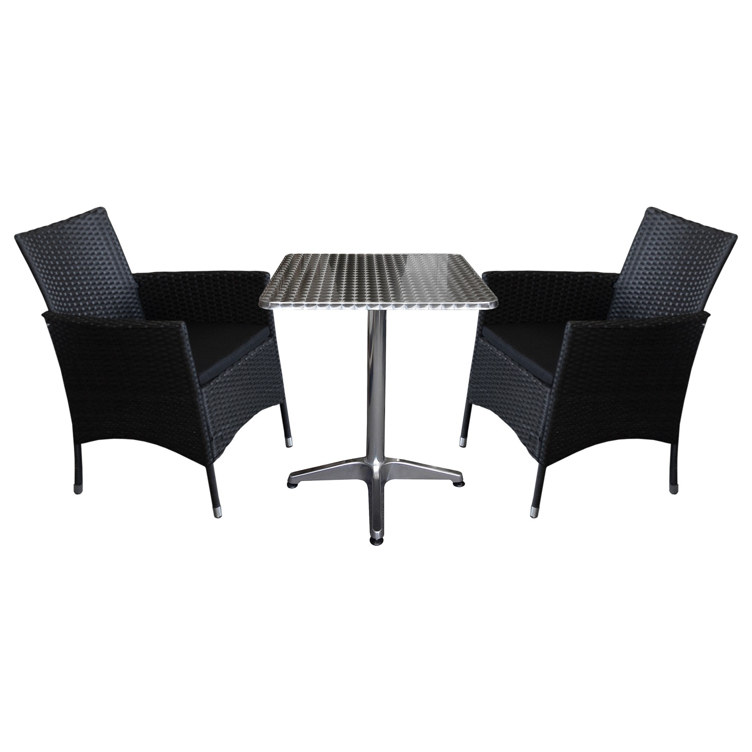 balkonm bel set sitzgruppe garnitur aluminium tisch 60x60cm 2x rattansessel ebay. Black Bedroom Furniture Sets. Home Design Ideas