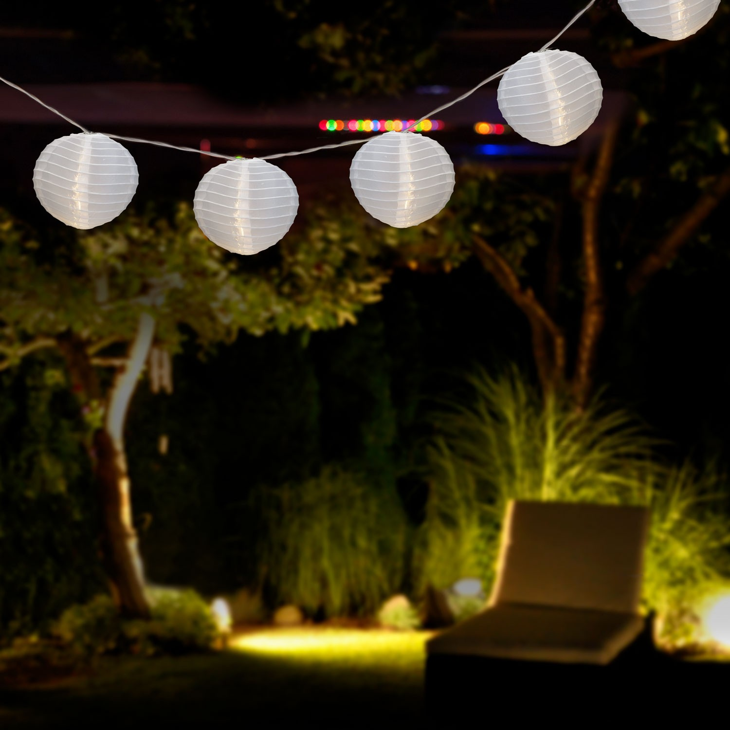 garten partylichter lampion lichterkette wei 15 lampions 30 leds garten dekoration beleuchtung. Black Bedroom Furniture Sets. Home Design Ideas