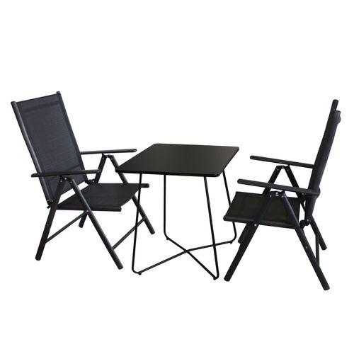 3tlg. Balkonmöbel-Set Bistrotisch 60x60cm Schwarz + 2x Hochlehner Schwarz – Bild 1