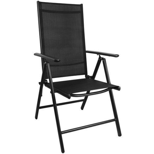5tlg. Balkonmöbel-Set Bistrotisch 60x60cm Schwarz + 4x Hochlehner Schwarz – Bild 2