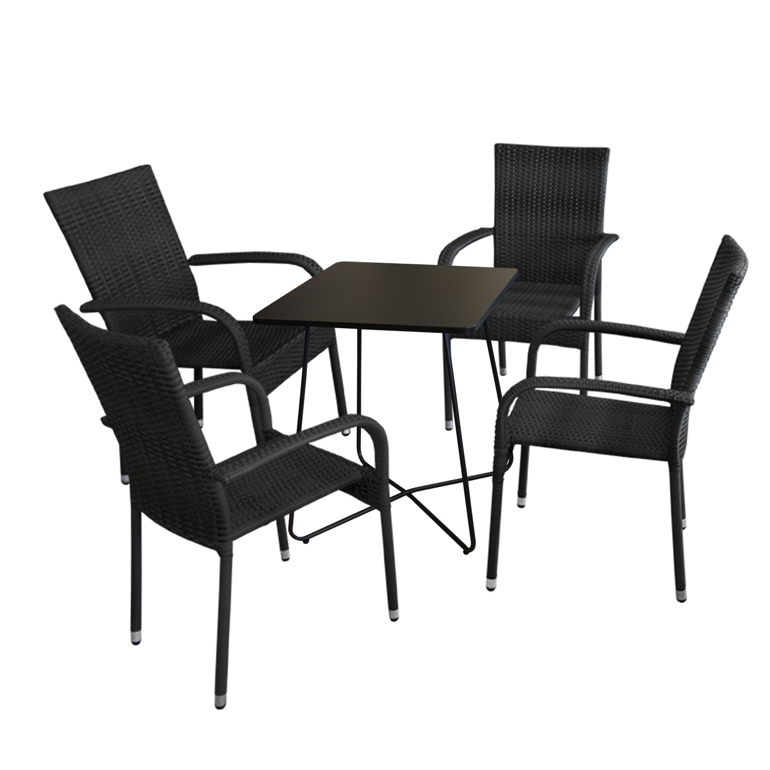 5tlg balkonm bel set bistrotisch 60x60cm schwarz 4x rattan gartensessel schwarz garten. Black Bedroom Furniture Sets. Home Design Ideas