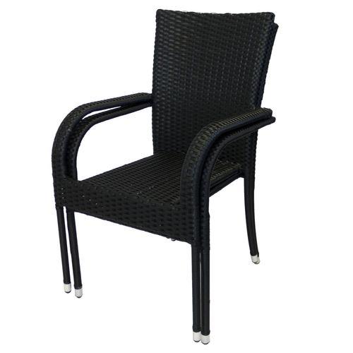 5tlg. Balkonmöbel-Set Bistrotisch 60x60cm Schwarz + 4x Rattan Gartensessel - Schwarz – Bild 7
