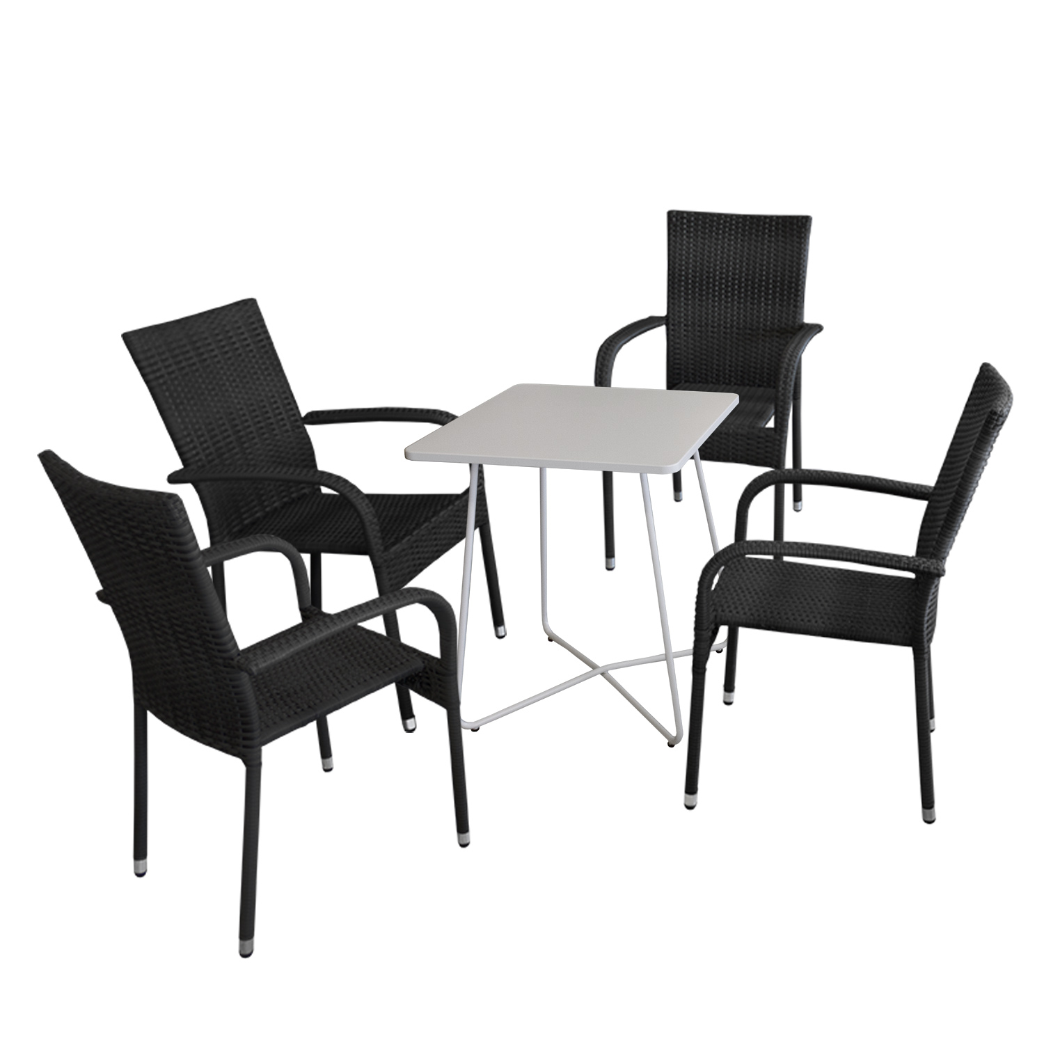 5tlg balkonm bel set bistrotisch 60x60cm wei 4x rattan gartensessel schwarz garten bistro. Black Bedroom Furniture Sets. Home Design Ideas