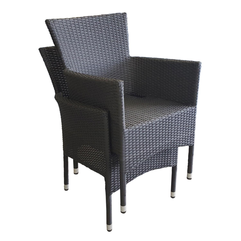 9tlg gartengarnitur gartentisch alu polywood 205x90cm 8x rattansessel schwarz stapelbar. Black Bedroom Furniture Sets. Home Design Ideas