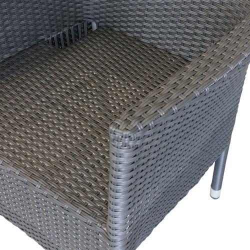 5tlg. Gartengarnitur Alu/Polywood 150x90cm Grau + 4x Rattansessel Schwarz stapelbar – Bild 7
