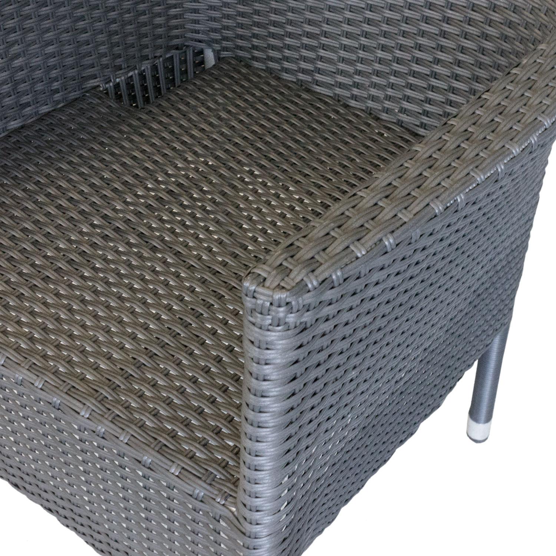3tlg gartengarnitur rattan optik kunststoff schwarz matt 79x79cm 2x rattansessel schwarz. Black Bedroom Furniture Sets. Home Design Ideas