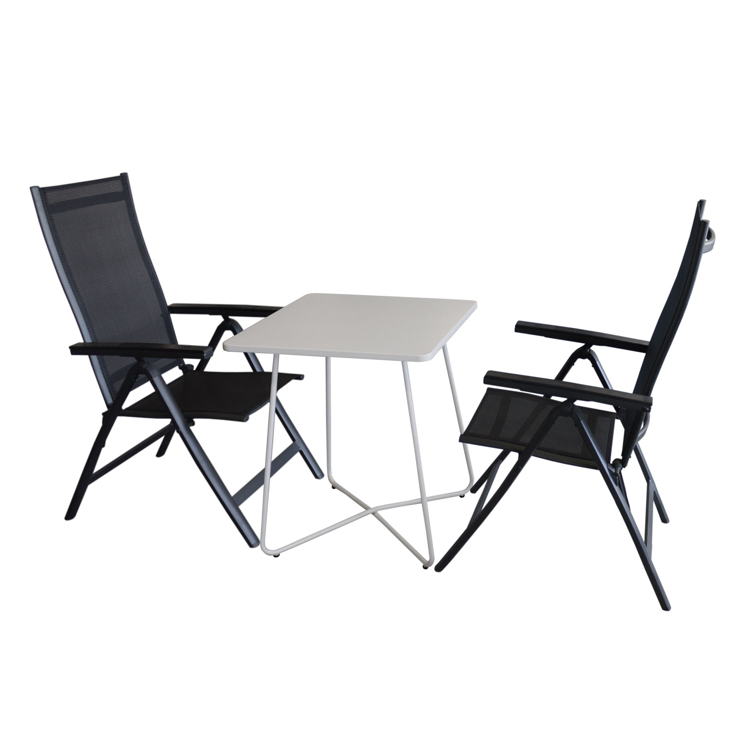 3tlg balkonm bel set bistrotisch 60x60cm wei 2x. Black Bedroom Furniture Sets. Home Design Ideas