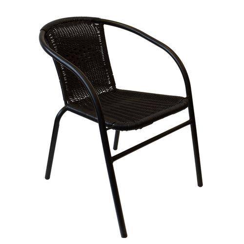3tlg. Balkonmöbel-Set Bistrotisch 60x60cm Schwarz + 2x Bistrostuhl Schwarz – Bild 2