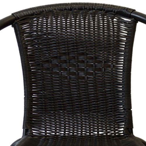 5tlg. Balkonmöbel-Set Bistrotisch 60x60cm Weiß + 4x Bistrostuhl Schwarz – Bild 3