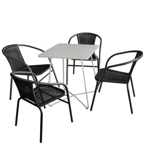 5tlg. Balkonmöbel-Set Bistrotisch 60x60cm Weiß + 4x Bistrostuhl Schwarz