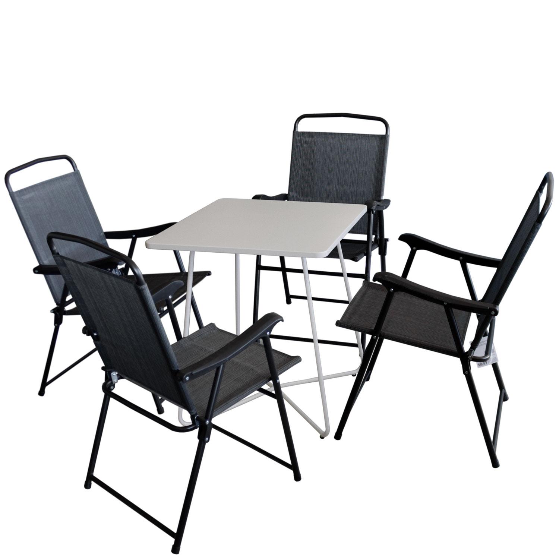 5tlg. Balkonmöbel-Set Bistrotisch 60x60cm Weiß + 4x Campingstuhl ...