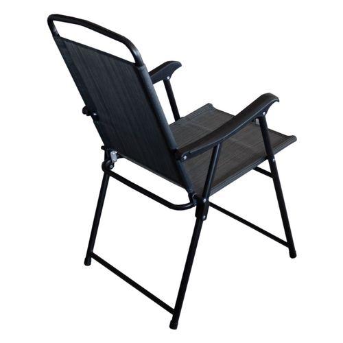 5tlg. Balkonmöbel-Set Bistrotisch 60x60cm Weiß + 4x Campingstuhl Textilenbespannung - Schwarz – Bild 3