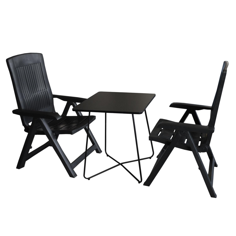 3tlg balkonm bel set bistrotisch 60x60cm schwarz 2x klappstuhl tampa anthrazit garten bistro. Black Bedroom Furniture Sets. Home Design Ideas