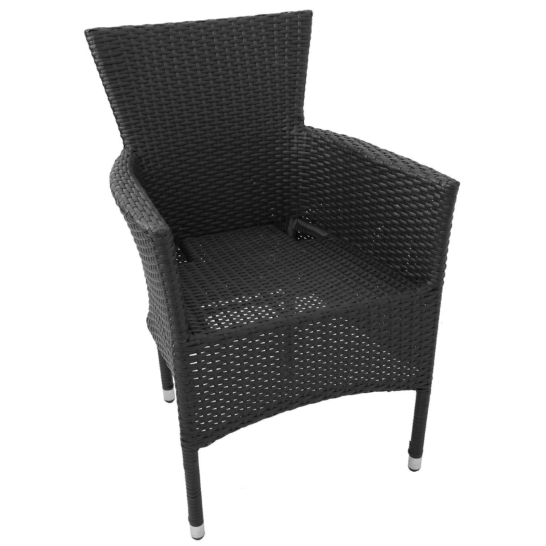 3tlg balkonm bel set 60x60cm schwarz 2x rattansessel. Black Bedroom Furniture Sets. Home Design Ideas