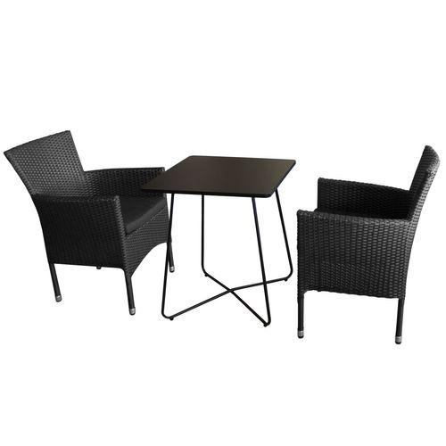 3tlg. Balkonmöbel-Set 60x60cm Schwarz + 2x Rattansessel + Kissen Schwarz – Bild 1