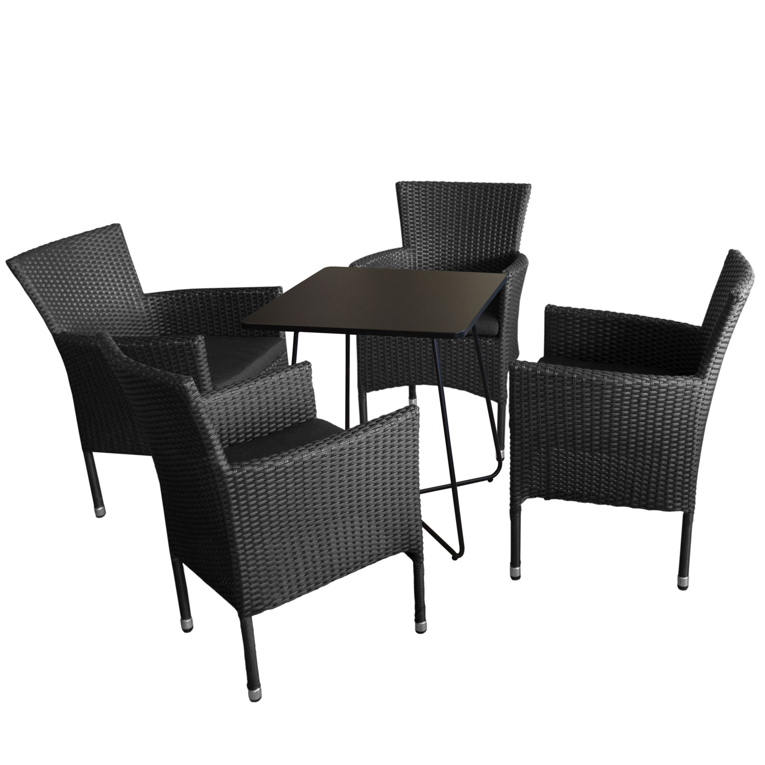 5tlg balkonm bel set 60x60cm schwarz 4x rattansessel kissen schwarz garten bistro und. Black Bedroom Furniture Sets. Home Design Ideas