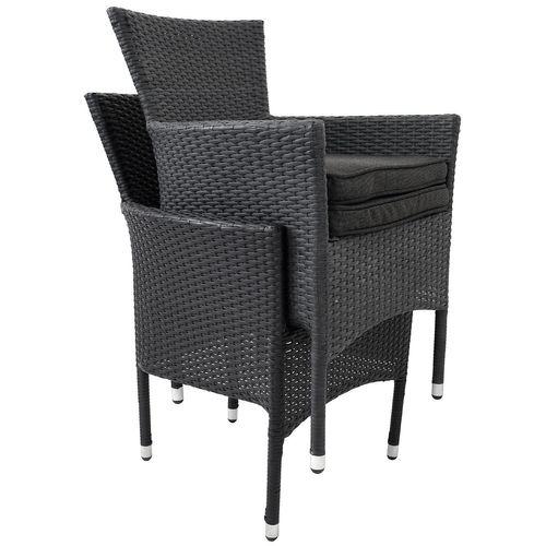 5tlg. Balkonmöbel-Set 60x60cm Schwarz + 4x Rattansessel + Kissen Schwarz – Bild 3