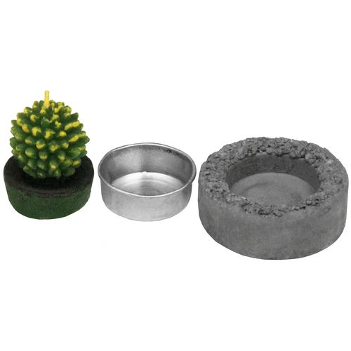 12tlg. Set Kaktuskerze im Zementhalter (1 Display) – Bild 2