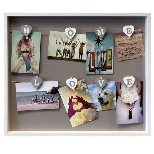 fotorahmen bilderrahmen memoboard rahmen mit 8 klammern home love 51x43cm ebay. Black Bedroom Furniture Sets. Home Design Ideas