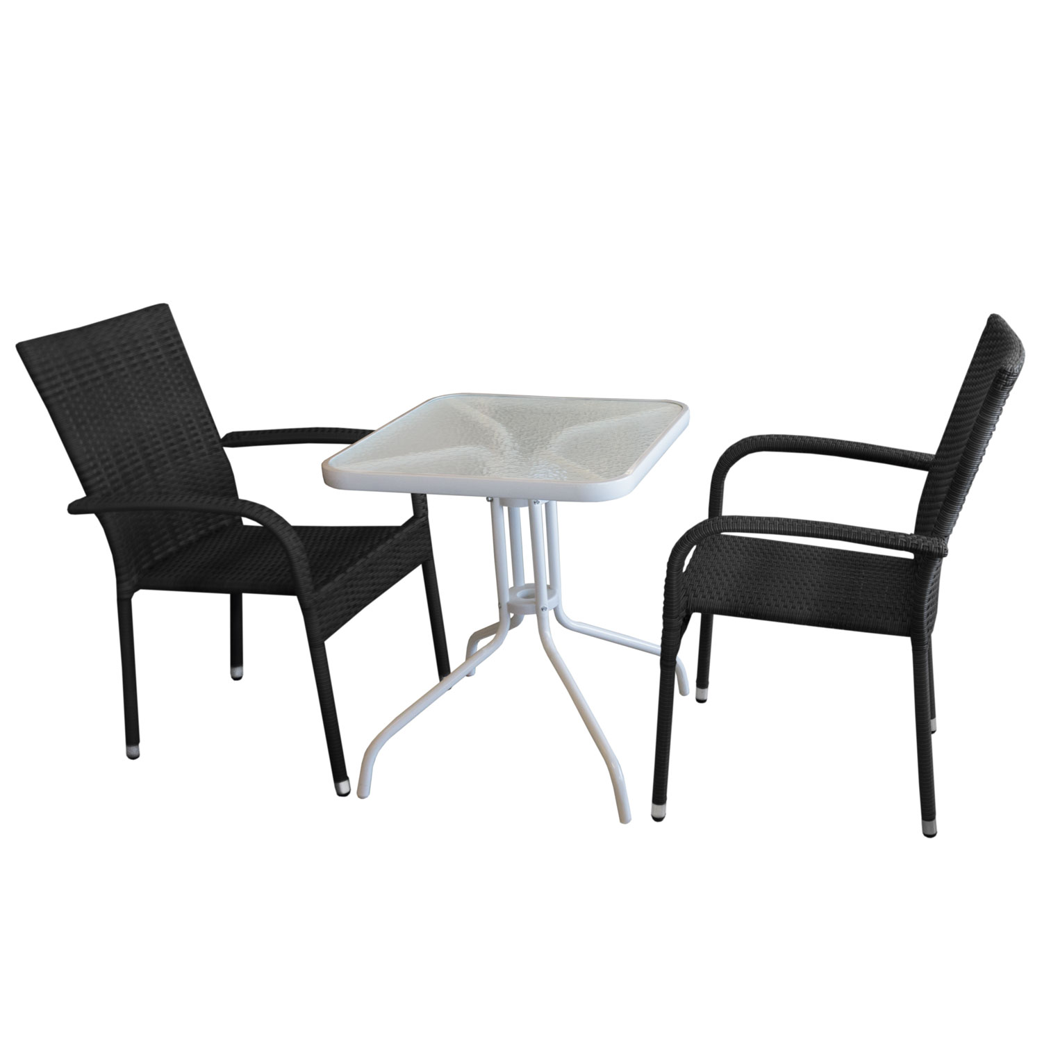 3tlg balkonm bel set bistrotisch glastisch 60x60cm wei 2x rattan gartensessel schwarz. Black Bedroom Furniture Sets. Home Design Ideas