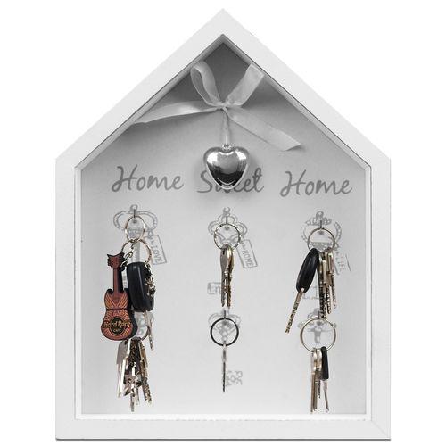 Schlüsselbrett Home Sweet Home 6 Haken - Weiß