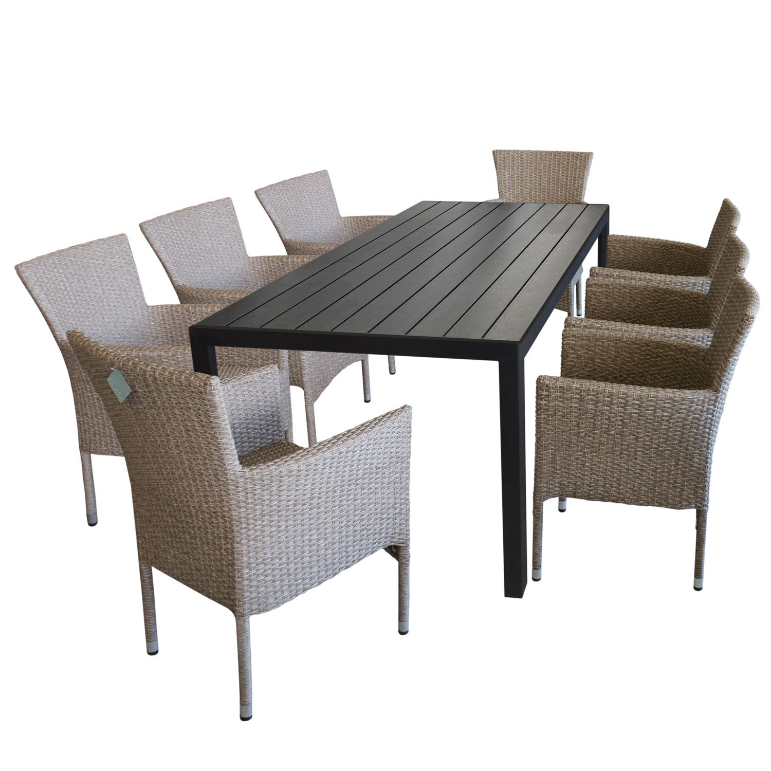 gartentisch sitzgruppe tisch alu polywood 205x90cm 8x rattansessel stapelbar ebay. Black Bedroom Furniture Sets. Home Design Ideas
