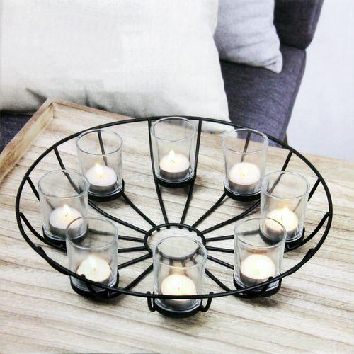 Teelichthalter Ø34xH9cm inkl. 8 Gläser – Bild 1