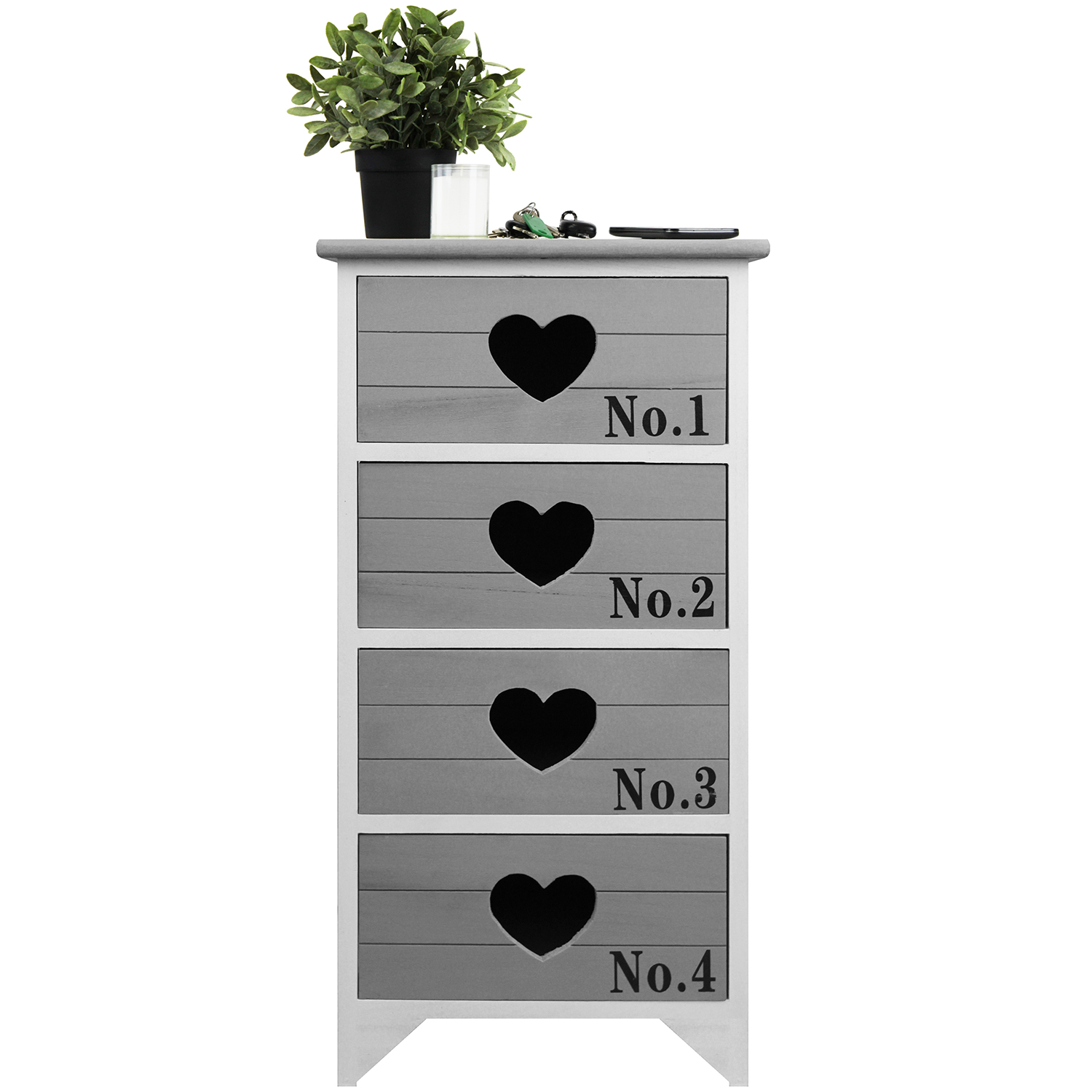 kommode mit 4 schubladen 38x28x77cm schrank. Black Bedroom Furniture Sets. Home Design Ideas