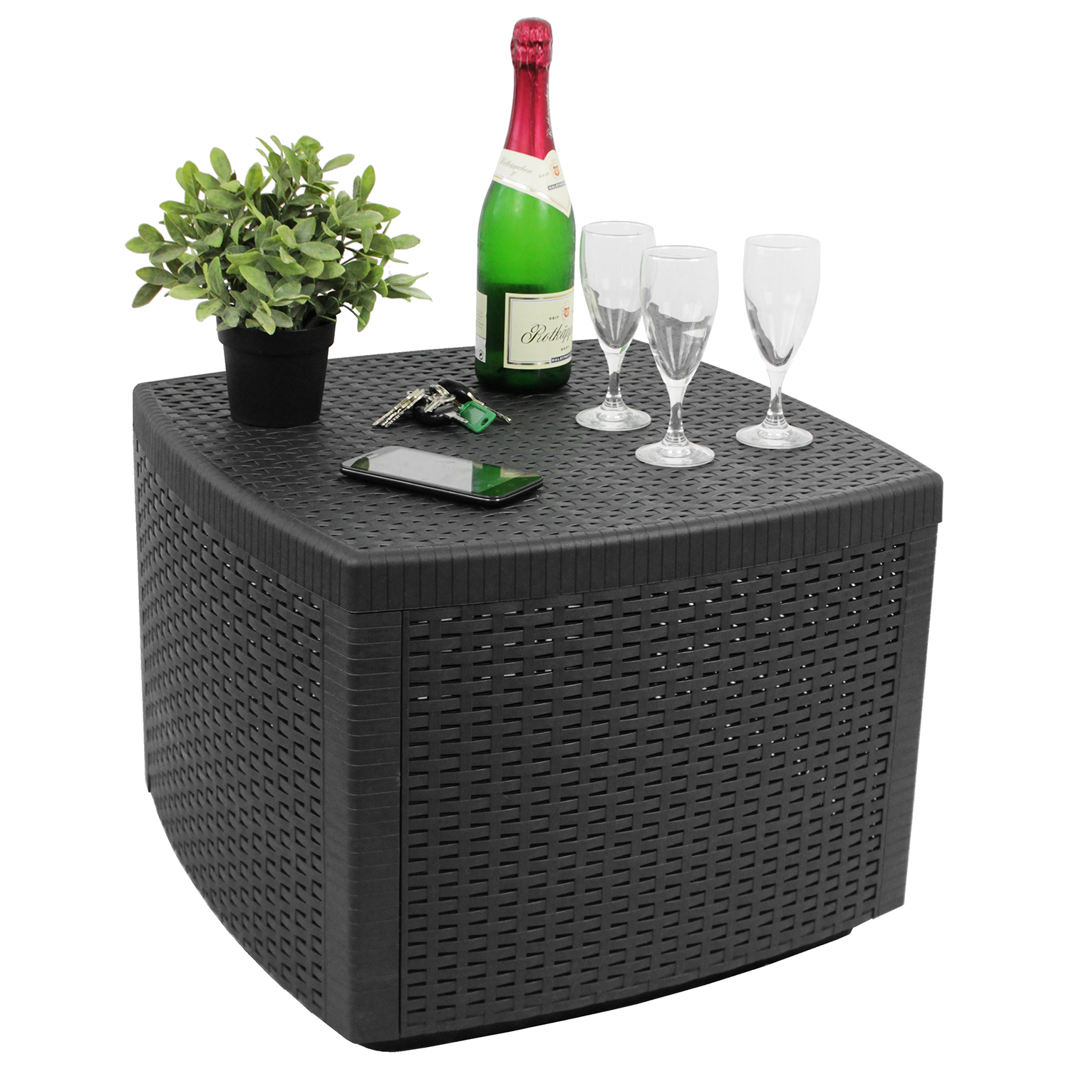 beistelltisch gartentisch loungetisch 53x53xh40cm rattan optik kunststoff anthr ebay. Black Bedroom Furniture Sets. Home Design Ideas