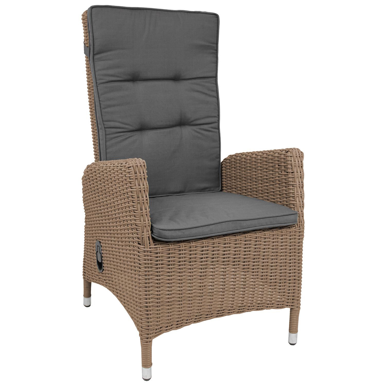 polyrattan sessel cappuccinofarben auflage grau garten. Black Bedroom Furniture Sets. Home Design Ideas