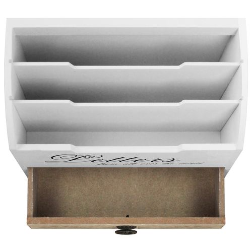 Schreibtischorganizer Letters 3 Fächer + 1 Schublade - Weiß/Natur – Bild 4