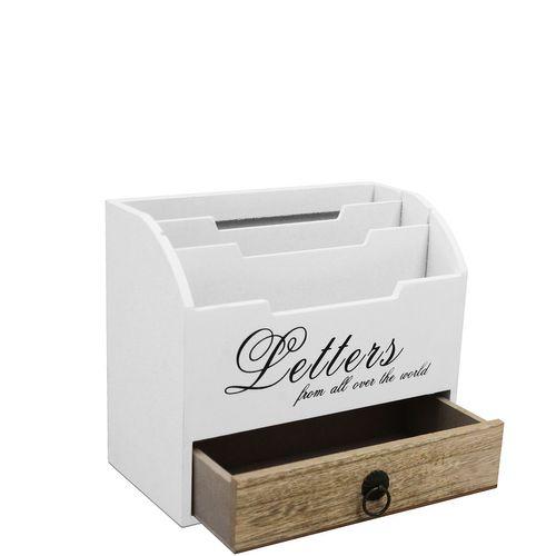 Schreibtischorganizer Letters 3 Fächer + 1 Schublade - Weiß/Natur – Bild 3