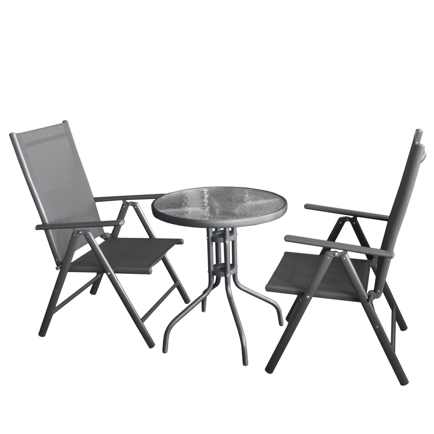 balkonm bel glastisch 60cm 2x hochlehner grau grau garten bistro und balkonsets 3 teilig. Black Bedroom Furniture Sets. Home Design Ideas