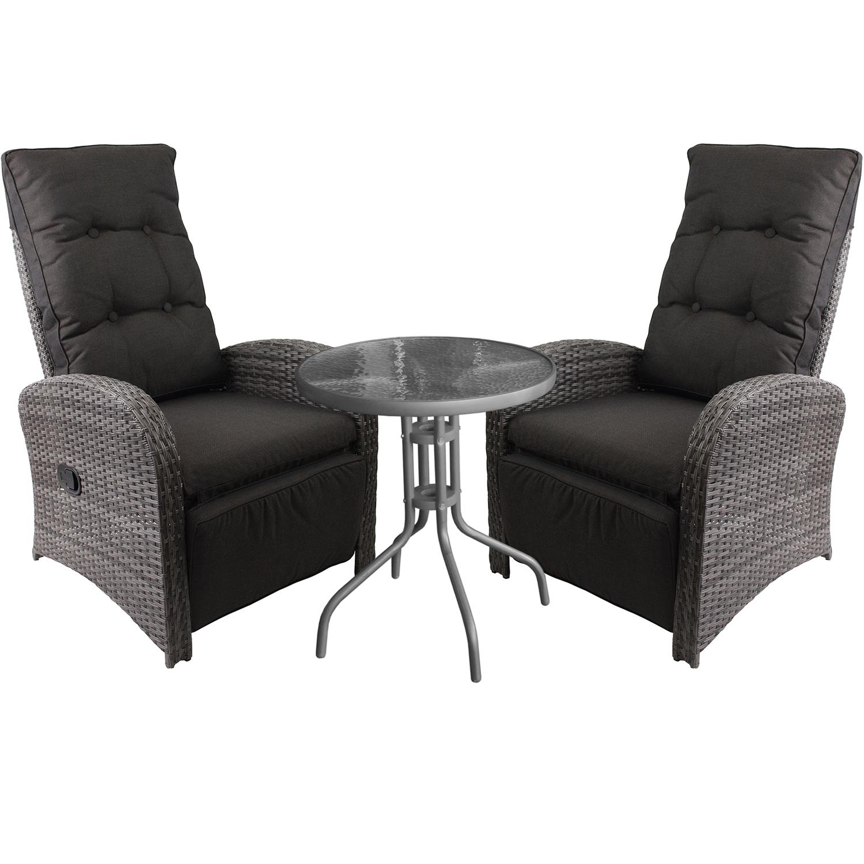 3tlg gartenm bel set glastisch 60cm anthrazit 2x polyrattan sessel garten bistro und. Black Bedroom Furniture Sets. Home Design Ideas