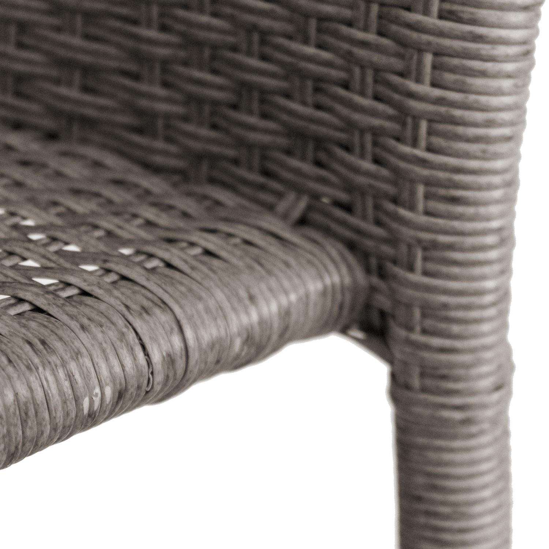 balkonm bel glastisch 60cm 2x rattan stapelstuhl grau meliert garten bistro und balkonsets 3. Black Bedroom Furniture Sets. Home Design Ideas