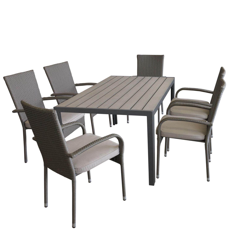 4x Stapelstuhl Anthr. Gartengarnitur Campingmöbel-Set Kunststofftisch 138x78cm