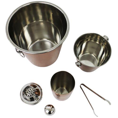 4tlg. Cocktailmixer Set mit Shaker, kleiner und großer Eimer und Zange – Bild 2