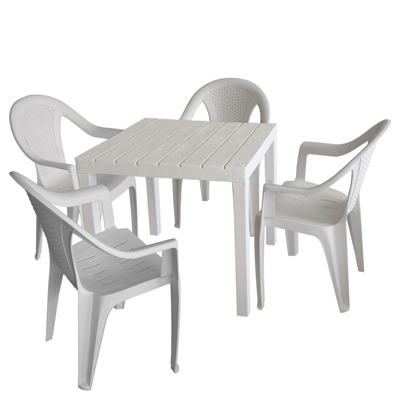 Gartenmöbel Set Kunststoff Gartentisch 78x78cm + 4x Stapelstuhl