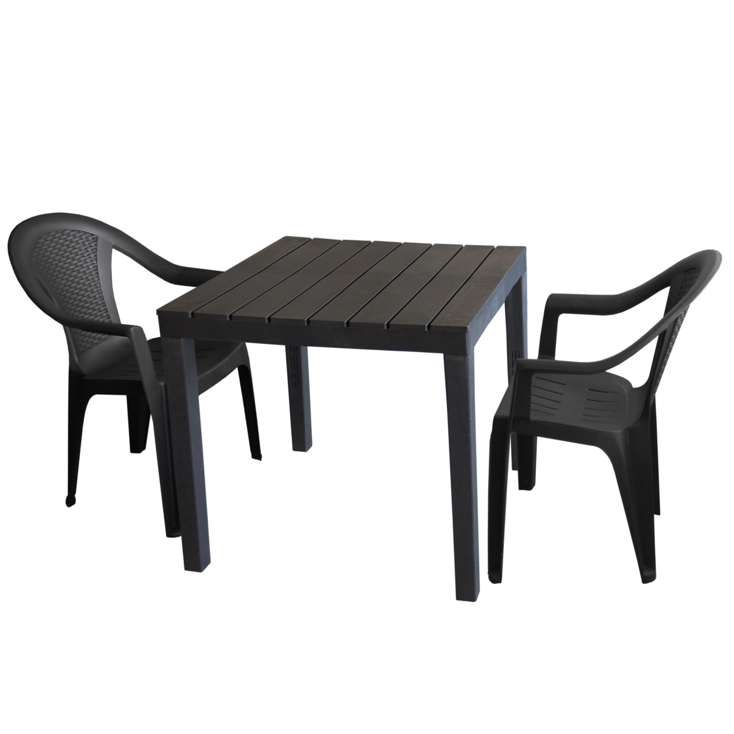 gartenm bel set kunststoff gartentisch 78x78cm 2x stapelstuhl ischia anthrazit garten bistro. Black Bedroom Furniture Sets. Home Design Ideas