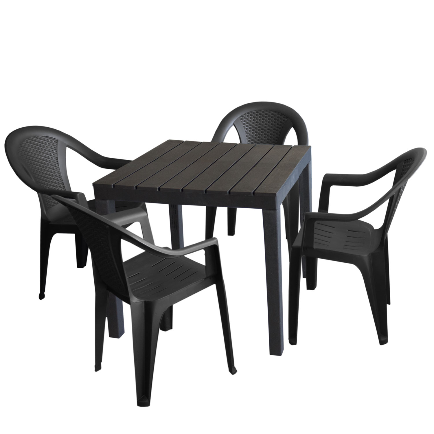 gartenm bel set kunststoff gartentisch 78x78cm 4x stapelstuhl ischia anthrazit garten bistro. Black Bedroom Furniture Sets. Home Design Ideas