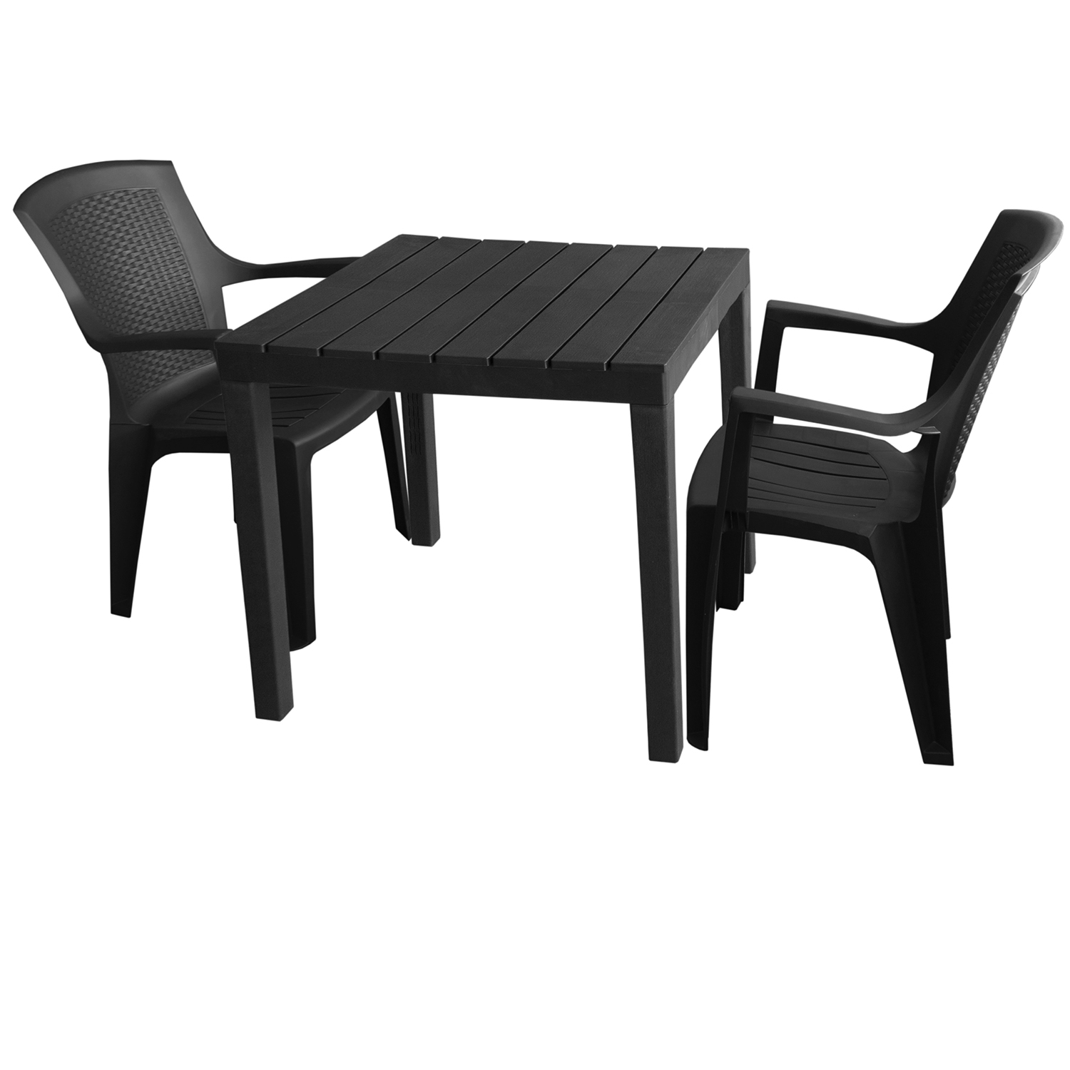 gartenm bel set gartentisch bali 78x78cm 2x stapelstuhl eden anthrazit garten bistro und. Black Bedroom Furniture Sets. Home Design Ideas