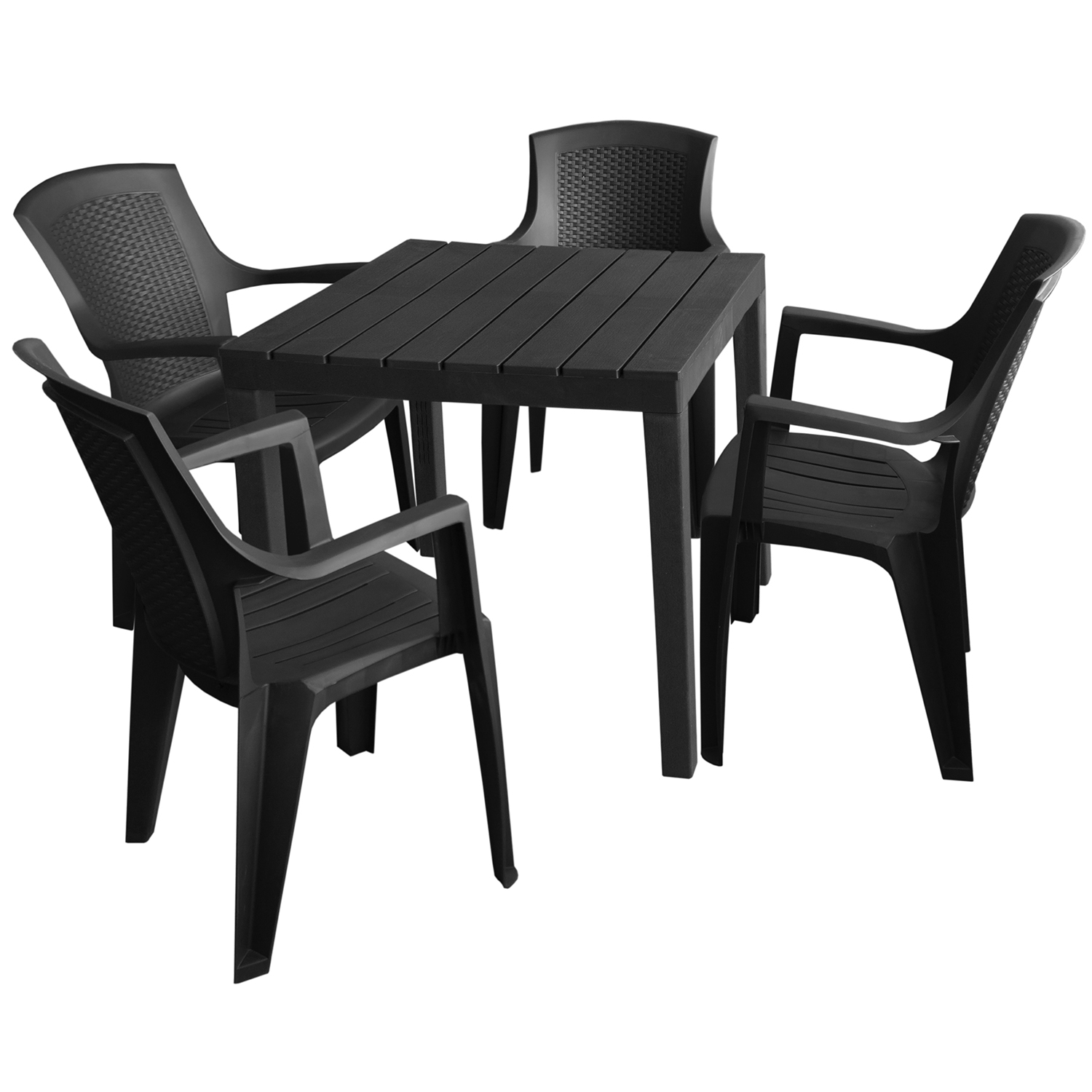 gartenm bel set gartentisch bali 78x78cm 4x stapelstuhl eden anthrazit garten bistro und. Black Bedroom Furniture Sets. Home Design Ideas
