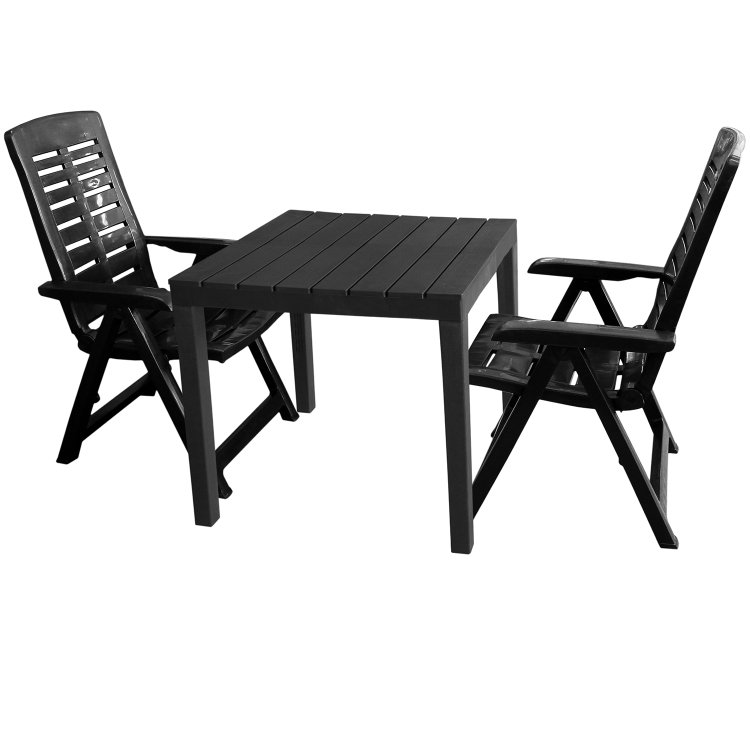 gartenm bel set gartentisch bali 78x78cm 2x klappsessel yuma anthrazit garten bistro und. Black Bedroom Furniture Sets. Home Design Ideas