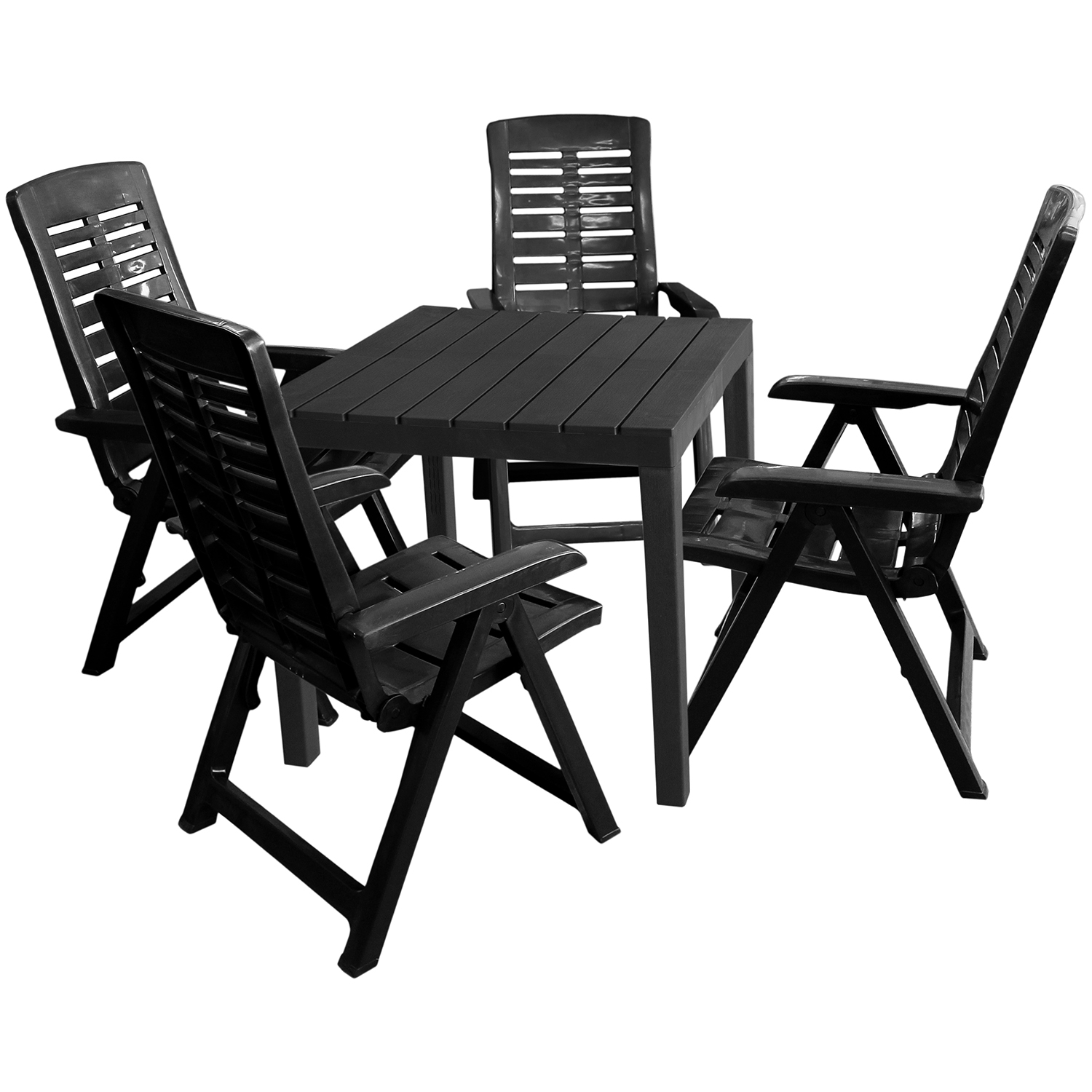 gartenm bel set gartentisch bali 78x78cm 4x klappsessel yuma anthrazit garten bistro und. Black Bedroom Furniture Sets. Home Design Ideas