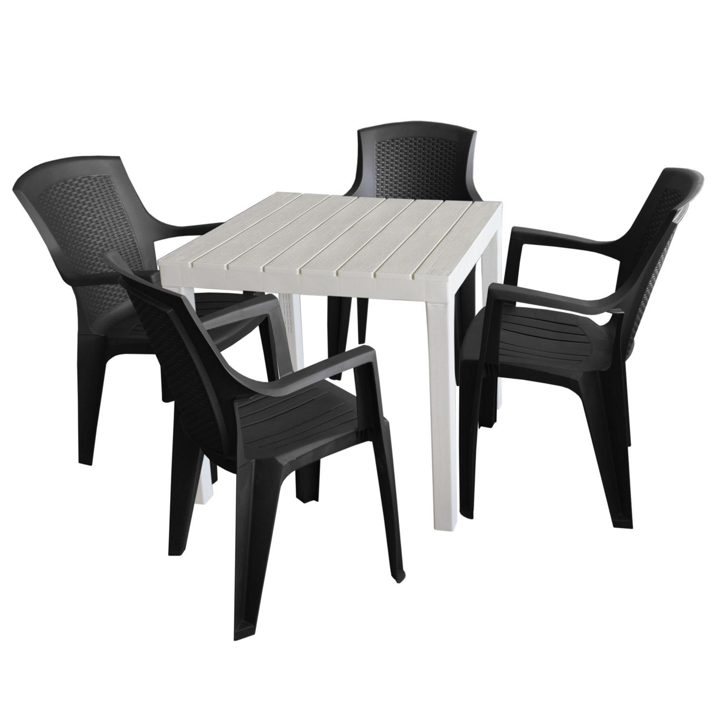 gartenm bel set kunststoff gartentisch 78x78cm 4x stapelstuhl eden schwarz garten bistro und. Black Bedroom Furniture Sets. Home Design Ideas