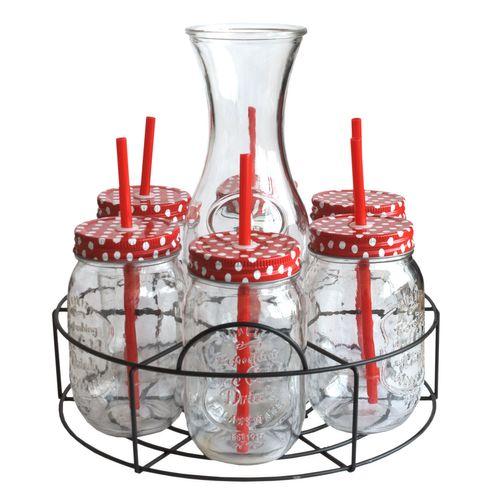 Trinkgläser Set Karaffe, 6x Gläser mit Deckel + Trinkhalm, Servierkorb – Bild 1