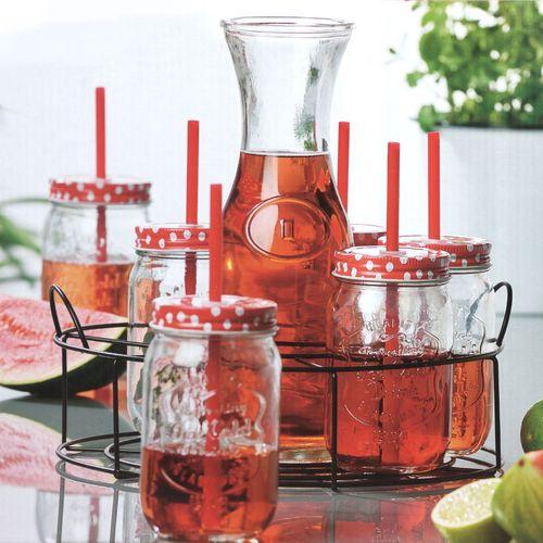 Trinkgläser Set Karaffe, 6x Gläser mit Deckel + Trinkhalm, Servierkorb – Bild 5