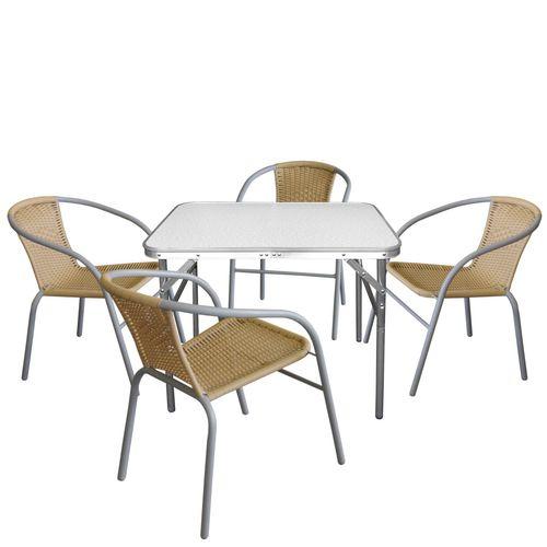 5tlg. Campingmöbel-Set Klapptisch 75x55cm + 4x Bistrostuhl Grau/Beige – Bild 1