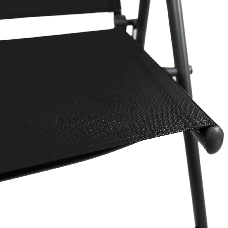 3tlg sitzgruppe glastisch 60x60cm 2x hochlehner grau schwarz garten bistro und balkonsets 3. Black Bedroom Furniture Sets. Home Design Ideas